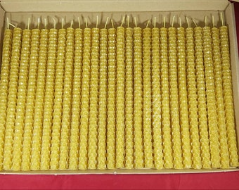 26 x 100% PURE beeswax PILLAR CANDLES Eco-friendly candles Handmade candles (size: 20cm/1cm)