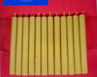 12 x 100% PURE beeswax PILLAR CANDLES Eco-friendly candles Handmade candles (size: 20cm/2cm)