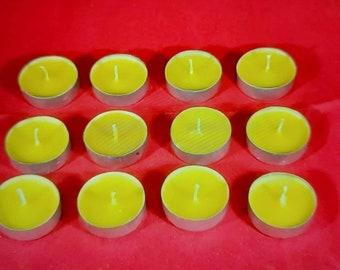 12 x 100% Pure Beeswax Tea Lights candles Night Lights Candles Handmade
