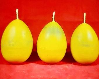 3 x  Handmade 100% Pure Beeswax Solid Oval Egg Shape Pillar Church Candles 5x7cm