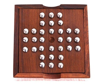 Handmade Indian Wooden Solitaire Board Game with Stainless Steel Balls Travel Games for Adults