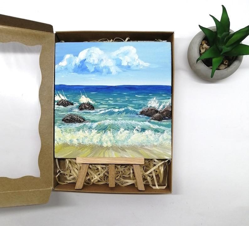 Ocean painting oil original mini on easel Ocean painting small Wave oil painting 6x6 inch Miniature seascape painting