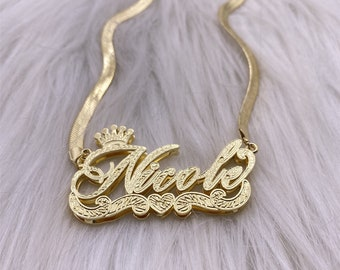 Gift for HerCustom Name Necklace Personalized Name Necklace14K Gold Overlay Sterling Silver-2 Tone Name PlateInitial NecklaceGold Chain