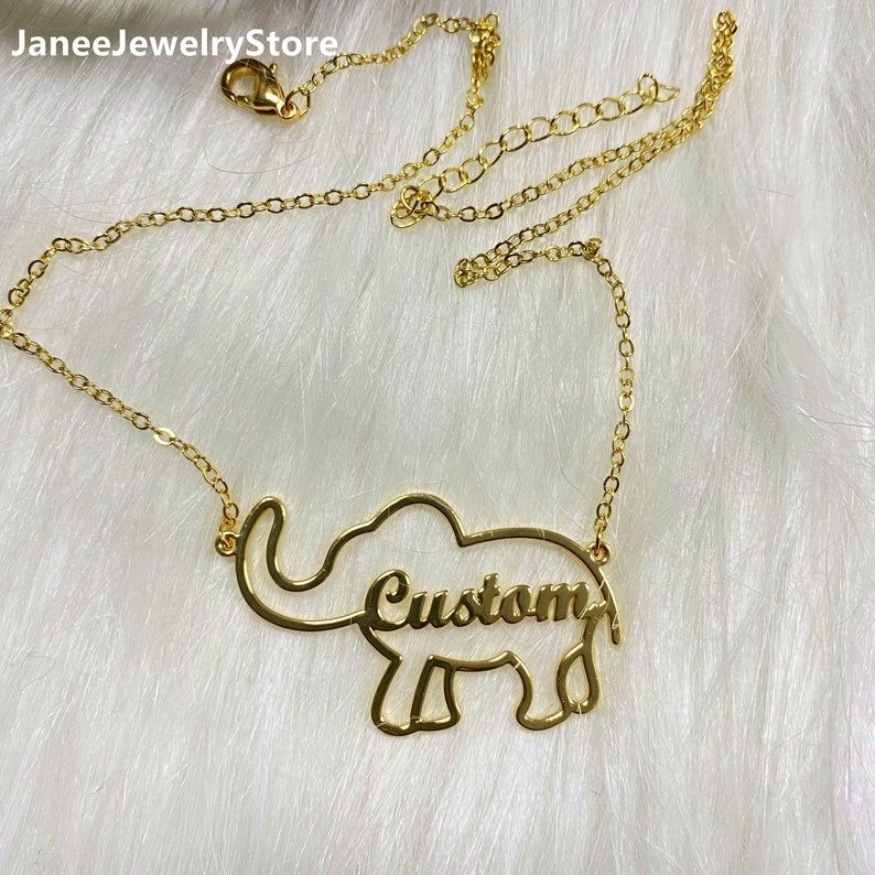 Custom Name Necklace Necklaces with Name for Women Personalized Elephant Necklace Animal Letter Necklace Elephant Name Necklace