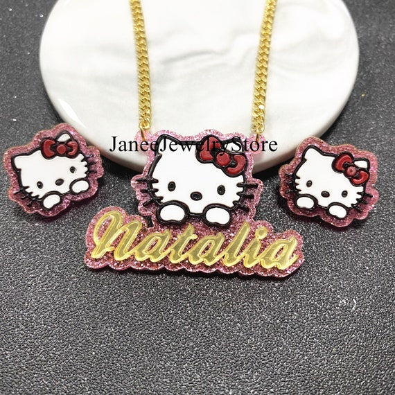 Hello Kitty Necklace set and Earrings - Personalzied Jewelry - Birthday Gifts - Acrylic Hello Kitty for kids