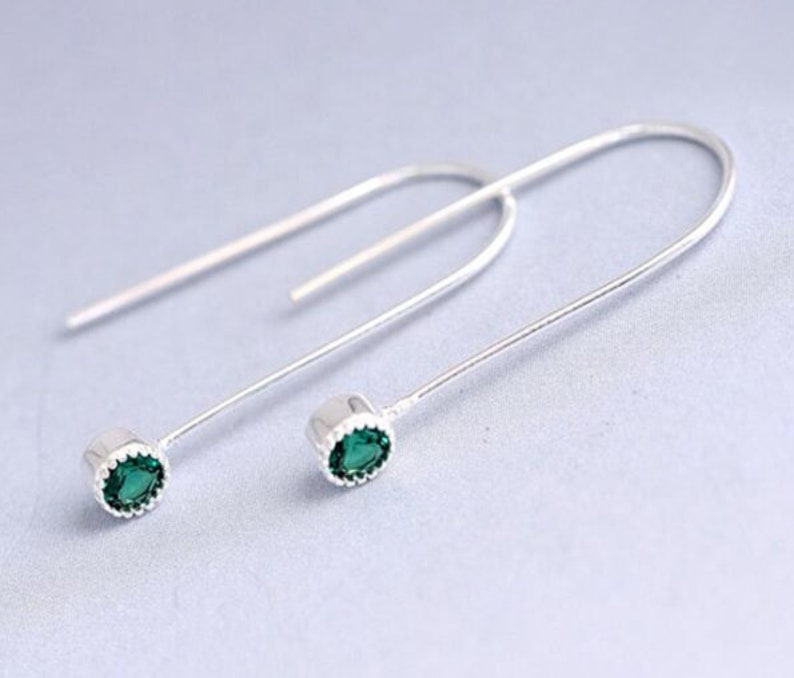 Dangle Drop Small U Shape Earring with Cubic Zircon,925 Sterling Silver,Minimalist Earring,Boho Earring,Gift for her Wedding Gift Jewellery.