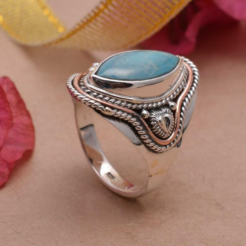 Larimar Stone Ring,Gemstone Ring,Handmade Ring,Silver Ring,Boho Ring,Vintage Ring,Women Ring,Anniversary Ring