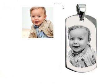 Customizable MEDAL: Medium rectangle engraved with photo or text with bail with a black gift box