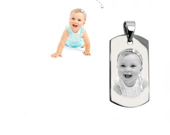 Customizable MEDAL: Small rectangle engraved with photo or text with bail with a black gift box