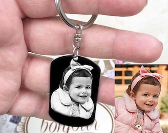 CUSTOMIZABLE MEDAL: Small rectangle engraved with photo or text/initials with key ring