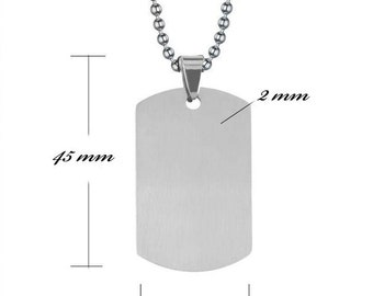 Customizable MEDAL: Medium rectangle engraved with photo or text with chain (adjustable) 58 cm with a black gift box