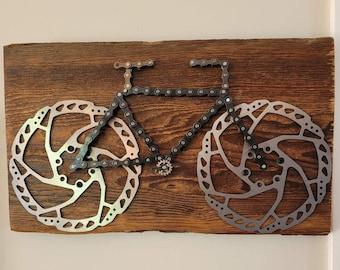 Bike 1. Bike chain, barnboard, sport, biker,father's day, birthday, cottage
