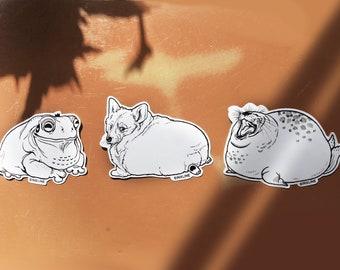 CHUNKY CORGI Sticker Set Pack 0f 3 Chonky Chubby Fat Animals-Cute Corgi, Seal, Frog Aufkleber fette Tiere süß Robbe, Frosch, süß
