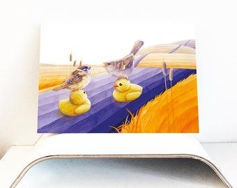 LIMITED & SIGNED Sparrows on Ducks Art Print, Spatzen Gummientchen, Wall Art