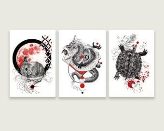 LIMITED Japanese Series Artwork Prints - Dragon, Bunny, Turtle, Fox -Japanische Zeichnungen Drache, Hase,Schildkröte, Fuchs