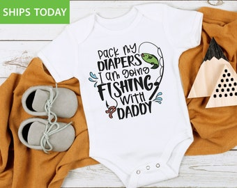 Baby Shower Gift Going Fishing with Daddy Onesie\u00ae Baby Girl Clothes Baby Boy Clothes Funny Baby Onesies\u00ae Fishing Baby Clothes