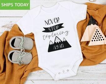 Adventure Baby Onesie\u00ae Baby Clothes Unisex  Mountain New Baby Gift Nature Outdoor Baby Onesie\u00ae Little Explorer