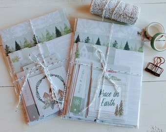 White Christmas Paper Pack,Christmas Scrapbook Paper Kit, Papercraft Kit, Junk Journal Supply, Card Making, Journal Cards, Ephemera,
