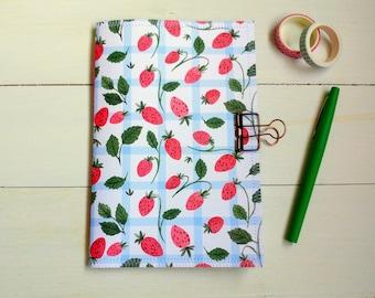 Strawberry Notebook, Strawberry Journal, Summer Notebook, Handmade Journal, Cute Stationary, Scrapbook Junk Journal, BuJo, Gift For Friend