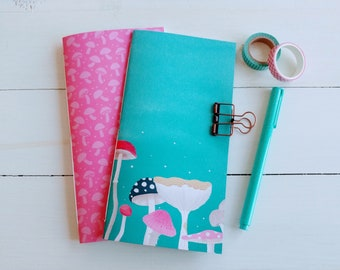 Mushroom Notebook Set, Mushroom Journal, Travelers Notebook Insert, Bujo, Scrapbook Journal, Notebook Gift, Unique Gift, Gift for Women