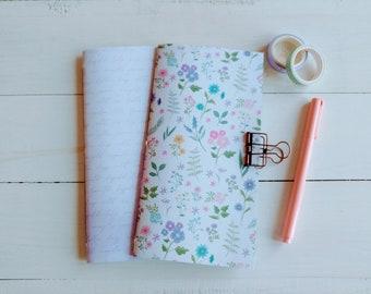 Floral Notebook Set, Spring Notebooks, Travelers Notebook Inserts, Bullet Journal, Handmade Notebook, Handmade Journal, Scrapbook