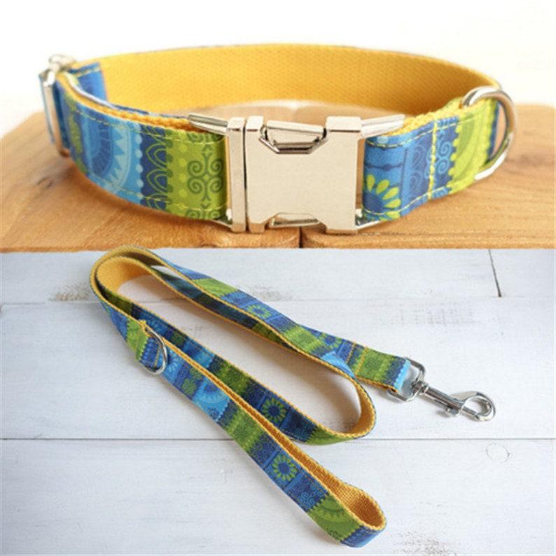 Personalized Dog Collar /& Leash Set Adjustable Engraved Buckle Small Dog or Large Dog Custom Laser Engraved Pet ID Nameplate