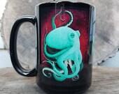 Octopus Mug - Octopus Coffe Cup - Nautical Tea Cup - 15 oz Mug