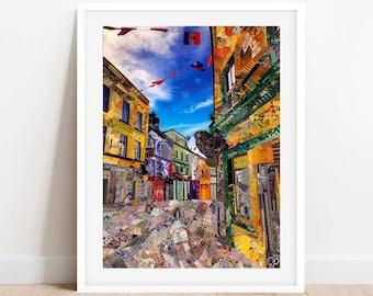 A3/A4 'Galway' Ireland, Art Print, Collage Art, Ireland Wall Art, Home Decor