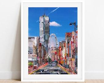 A3/A4 Manchester 'City Tower', Manchester Art Print, Manchester Wall Art, Manchester Poster, Collage Art Print