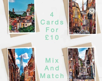 A5 Set of 4 Art Cards, Mix and Match, Towns and City Collages, Greeting Cards, Location Cards