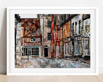 A3/A4 Winchcombe 'North Street', Gloucestershire Art Print, The Cotswolds, Wall Art, Home Decor
