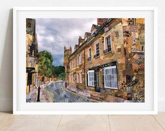 A3/A4 Cirencester 'Coxwell Street' Art Print, Gloucestershire Art Print, Cirencester Collage Poster Print, Cirencester Wall Art, Home Decor