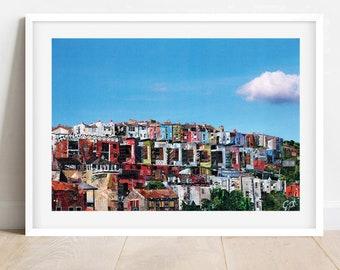 A3/A4 Bristol 'View Of Hotwells', Colourful Houses, Bristol View, Houses From The Harbour, Bristol Print, Bristol Wall Art, Bristol Decor