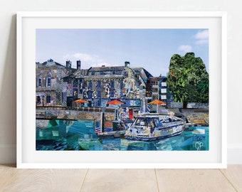 A3/A4 'Plymouth Harbour' Collage Art Print, Devonshire Art, Plymouth Poster, Plymouth Wall Art, Plymouth Home Decor