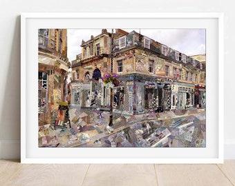 A3/A4 Cheltenham Montpellier, Collage Art Print, Gloucestershire Wall art, Cotswolds Home Decor