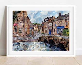 A3/A4 Bourton-On-The-Water Art Print, Collage Print, Cotswolds Art Print, Gloucestershire, Wall Art, Home Decor,