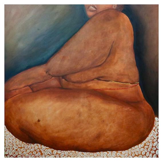 seat of consciousness, Black Woman, Black Female art, Curvy Woman, Yoga, body positivity,