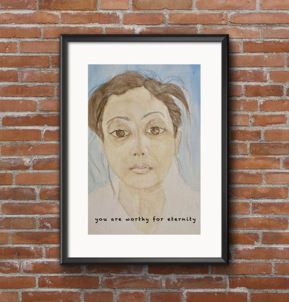 you are worthy for eternity, Brown Woman, Brown Female art, Curvy Woman, Yoga, South Asian art, Indian Woman, Brown Girl