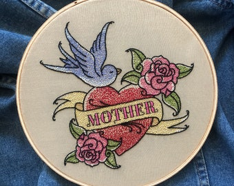 Mom Heart Tattoo Embroidery Pattern with Full Alphabet
