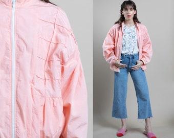 Extra Large Vintage Color Block Streetwear Windbreaker 80s Pastel Silk Bomber Jacket