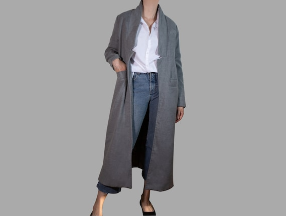 Oversized Wool Coat Grey Long  Minimalist maxi coa