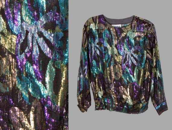 80s Metallic Lame Blouse Gold Purple Teal Shiny to