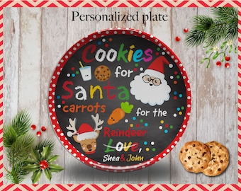 Santa Cookie platter Personalized tin cookie Tray Custom tin cookie tray Personalized tin cookie Plate Custom tin plate Santa plate