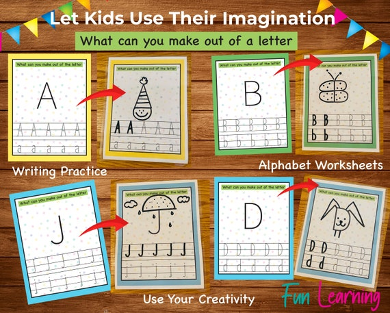 Alphabet Tracing Worksheets, Drawing Games, Fun Learning, Preschool  Worksheets, ABC'S, Kindergarten Worksheets, Activity Pages For Kids By  Purple Rose House Catch My Party