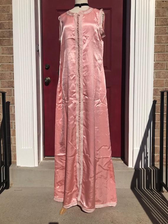 Pink Satin 1960's Maxi Dress
