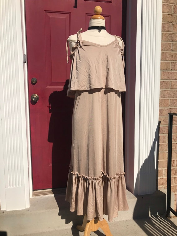 Tan 1970s Midi Prairie Dress size m