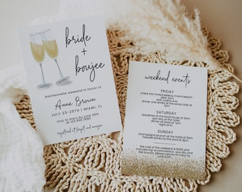 Bride /& Boujee EDITABLE Bachelorette Party Invitation Bride Tribe Girls Weekend Itinerary Big City Champagne Glitter Instant Download