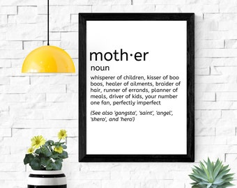 """mother definition printable wall art / instant download / mother's day gift / gifts for mom / 5x7"""" / 8x10"""" / 11x14"""" / 18x24"""""""