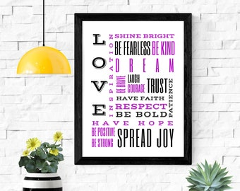 "love shine bright dream printable wall art / instant download / inspirational wall art / home decor / 5x7"" / 8x10"" / 11x14"" / 18x24"""