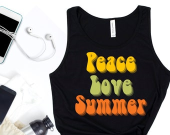 peace love summer tank top / summer vibes only / summer tank top / summer gifts / unisex tank tops / summer tops / peace and love / hippie